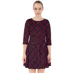 Woven2 Black Marble & Red Grunge (r) Smock Dress