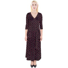Brick2 Black Marble & Red Leather (r) Quarter Sleeve Wrap Maxi Dress