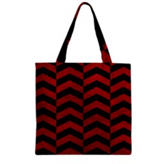 Chevron2 Black Marble & Red Leather Zipper Grocery Tote Bag by trendistuff