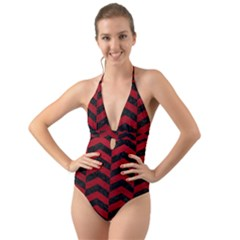 Chevron2 Black Marble & Red Leather Halter Cut Out One Piece Swimsuit
