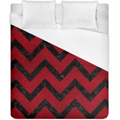 Chevron9 Black Marble & Red Leather Duvet Cover (california King Size) by trendistuff