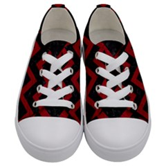 Chevron9 Black Marble & Red Leather (r) Kids  Low Top Canvas Sneakers