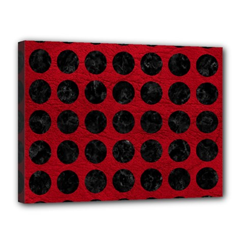 Circles1 Black Marble & Red Leather Canvas 16  X 12