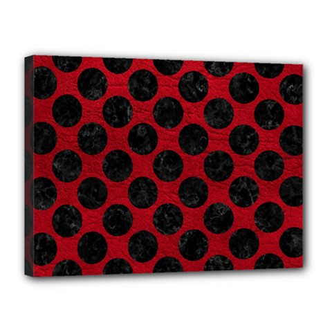 Circles2 Black Marble & Red Leather Canvas 16  X 12  by trendistuff