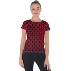 Circles3 Black Marble & Red Leather (r) Short Sleeve Sports Top  by trendistuff