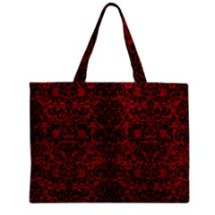 Damask2 Black Marble & Red Leather Zipper Mini Tote Bag by trendistuff