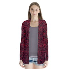 Damask2 Black Marble & Red Leather Drape Collar Cardigan