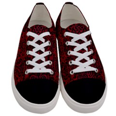 Damask2 Black Marble & Red Leather Women s Low Top Canvas Sneakers