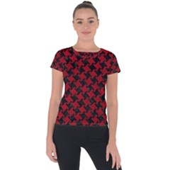 Houndstooth2 Black Marble & Red Leather Short Sleeve Sports Top