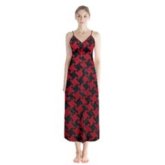 Houndstooth2 Black Marble & Red Leather Button Up Chiffon Maxi Dress