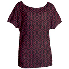 Hexagon1 Black Marble & Red Leather (r) Women s Oversized Tee