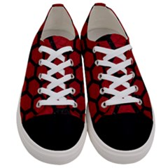 Hexagon2 Black Marble & Red Leather Women s Low Top Canvas Sneakers
