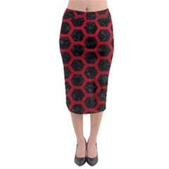 Hexagon2 Black Marble & Red Leather (r) Midi Pencil Skirt by trendistuff