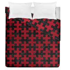 Puzzle1 Black Marble & Red Leather Duvet Cover Double Side (queen Size) by trendistuff