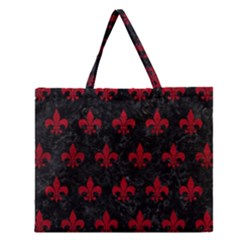 Royal1 Black Marble & Red Leather Zipper Large Tote Bag by trendistuff