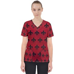 Royal1 Black Marble & Red Leather (r) Scrub Top by trendistuff