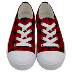 Royal1 Black Marble & Red Leather (r) Kids  Low Top Canvas Sneakers