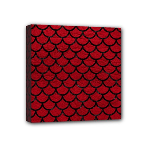 Scales1 Black Marble & Red Leather Mini Canvas 4  X 4