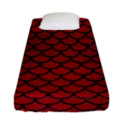 Scales1 Black Marble & Red Leather Fitted Sheet (single Size) by trendistuff