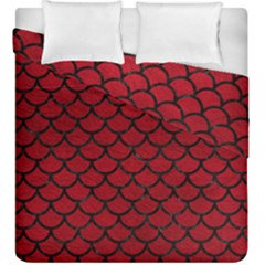 Scales1 Black Marble & Red Leather Duvet Cover Double Side (king Size)