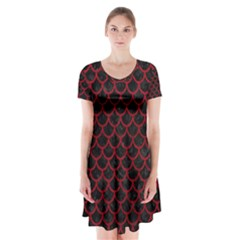 Scales1 Black Marble & Red Leather (r) Short Sleeve V Neck Flare Dress by trendistuff