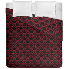 Scales2 Black Marble & Red Leather (r) Duvet Cover Double Side (california King Size)