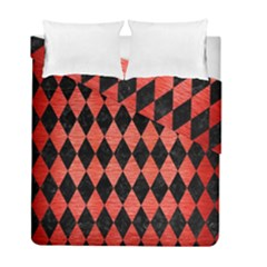 Diamond1 Black Marble & Red Brushed Metal Duvet Cover Double Side (full/ Double Size)