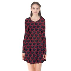 Scales3 Black Marble & Red Leather (r) Flare Dress by trendistuff