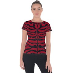 Skin2 Black Marble & Red Leather Short Sleeve Sports Top