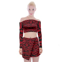Skin2 Black Marble & Red Leather Off Shoulder Top With Mini Skirt Set by trendistuff
