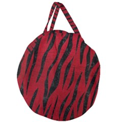Skin3 Black Marble & Red Leather Giant Round Zipper Tote