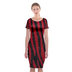 Skin4 Black Marble & Red Leather Classic Short Sleeve Midi Dress