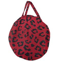 Skin5 Black Marble & Red Leather (r) Giant Round Zipper Tote