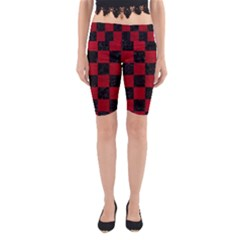 Square1 Black Marble & Red Leather Yoga Cropped Leggings