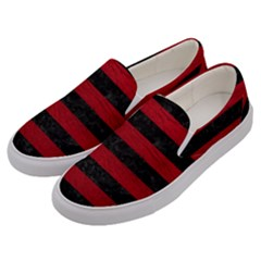 Stripes2 Black Marble & Red Leather Men s Canvas Slip Ons by trendistuff
