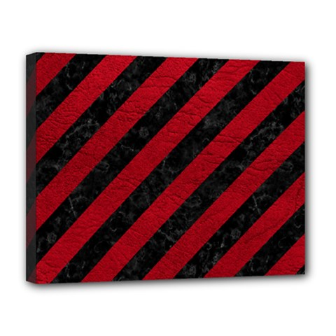 Stripes3 Black Marble & Red Leather (r) Canvas 14  X 11  by trendistuff