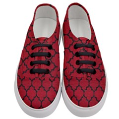 Tile1 Black Marble & Red Leather Women s Classic Low Top Sneakers