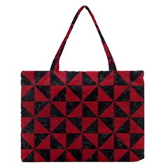 Triangle1 Black Marble & Red Leather Zipper Medium Tote Bag by trendistuff