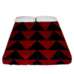 Triangle2 Black Marble & Red Leather Fitted Sheet (queen Size)