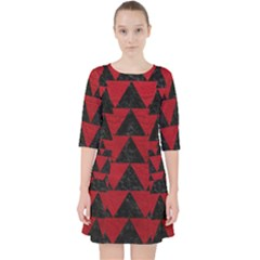 Triangle2 Black Marble & Red Leather Pocket Dress