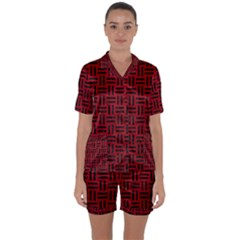 Woven1 Black Marble & Red Leather Satin Short Sleeve Pyjamas Set by trendistuff
