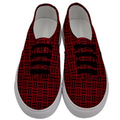 Woven1 Black Marble & Red Leather Men s Classic Low Top Sneakers