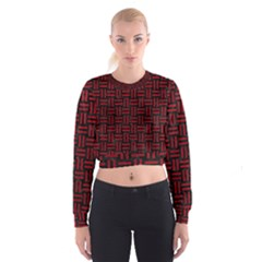 Woven1 Black Marble & Red Leather (r) Cropped Sweatshirt