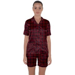 Woven1 Black Marble & Red Leather (r) Satin Short Sleeve Pyjamas Set by trendistuff