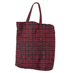 Woven1 Black Marble & Red Leather (r) Giant Grocery Zipper Tote by trendistuff