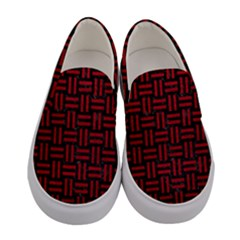 Woven1 Black Marble & Red Leather (r) Women s Canvas Slip Ons