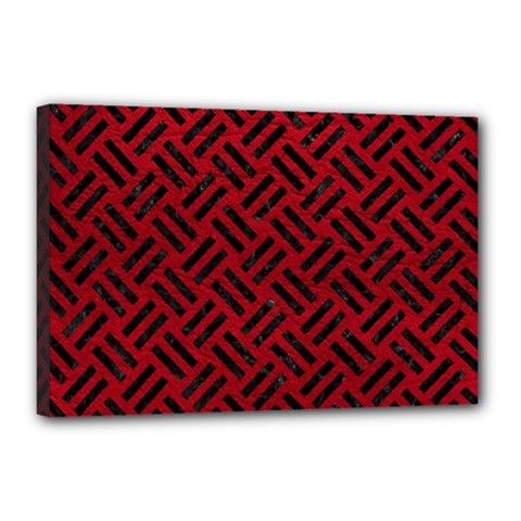 Woven2 Black Marble & Red Leather Canvas 18  X 12  by trendistuff