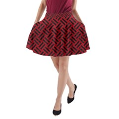 Woven2 Black Marble & Red Leather A Line Pocket Skirt