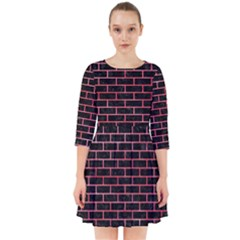 Brick1 Black Marble & Red Watercolor (r) Smock Dress