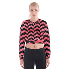 Chevron2 Black Marble & Red Watercolor Cropped Sweatshirt